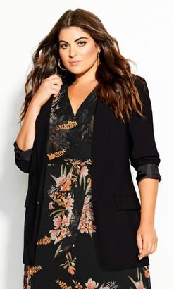 City Chic Essence Longline Jacket - black