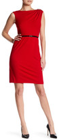 Ellen Tracy Cap Sleeve Belted Midi Dress