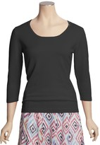 Casual Studio Shell Button Sweater - Round Neck, 3/4 Sleeve (For Women)