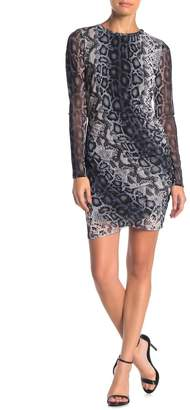 Free Press Snake Print Mesh Long Sleeve Dress