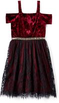 Speechless Black & Burgundy Velvet Off-Shoulder Dress - Girls