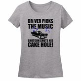 Minty Tees Driver Picks The Music, Shotgun Shuts His Cake Hole Women's T-Shirt