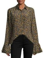 Derek Lam 10 Crosby Long-Sleeve Button-Front Printed Blouse w/ Ruffle Cuffs