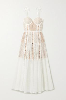 Self-Portrait Grosgrain-trimmed Paneled Lace Midi Dress - White