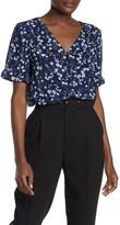 Floral Print Textured Ruffle Crepe Button Down Shirt