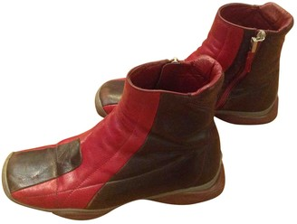 Prada Red Leather Ankle boots