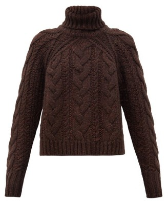 Cecilie Bahnsen Roll-neck Cable-knitted Wool-blend Sweater - Brown
