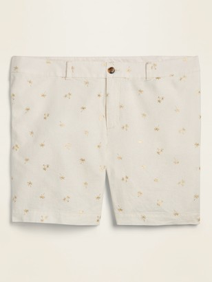 Old Navy Mid-Rise Plus-Size Printed Linen-Blend Everyday Shorts -- 7-inch inseam