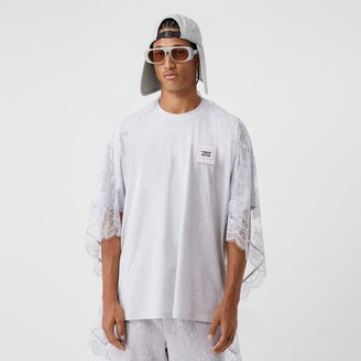 Burberry Chantilly Lace Cape Detail Cotton Oversized T-shirt