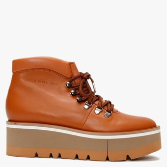 Clergerie Bubble Tan Leather Platform Walking Boots