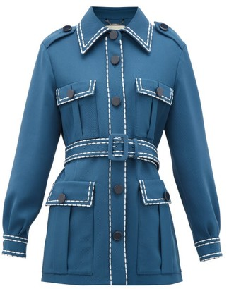 Fendi Belted Wool-gabardine Jacket - Blue Multi