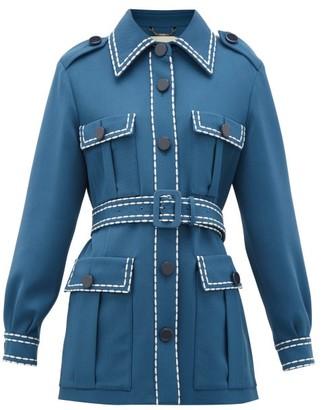 Fendi Belted Wool-gabardine Jacket - Womens - Blue Multi