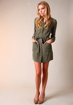 Twelfth St. By Cynthia Vincent Army Button Up Belted Dress