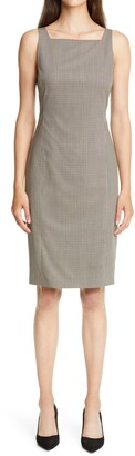 Theory Square Neck Wool Sheath Dress