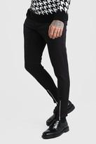 boohoo Mens Black Super Skinny Stretch Smart Trousers With Zip Detail, Black