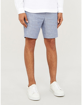 Frescobol Carioca Drawstring tailored linen and cotton-blend shorts