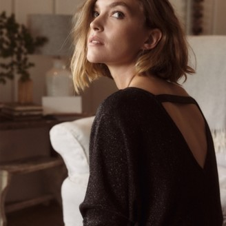 The White Company Sparkle Slash-Neck Jumper , Dark Charcoal Marl, Extra Small