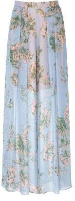 DELPOZO Floral-Print Silk-Chiffon Wide Leg Pants