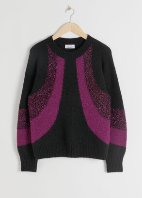 And other stories Glitter Colour Block Wool Blend Sweater