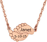 FINE JEWELRY Personalized Name & Date Baby Feet Pendant Necklace