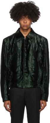 Dries Van Noten Green Velvet Wave Jacket