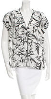 Alice + Olivia Leather-Trimmed Botanical Print Top w/ Tags
