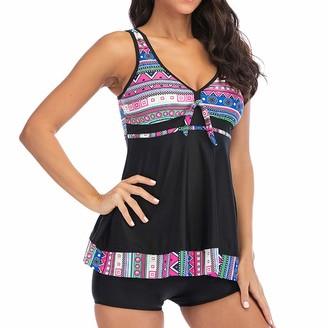 CixNy Women's Swimwear V-Neck Hight Waist Printed Two Piece Swimsuit Bathing Suits Bikini Set Kimono Beachwear Monokini Tankini Cover Up Pink