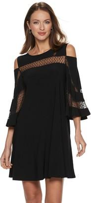 Women's Nina Leonard Cold-Shoulder Lace Inset Trapeze Dress