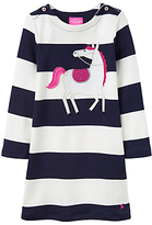 Joules Little Joule Girls' Applique Horse Stripe Dress