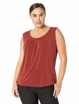 Kasper Women's Size Plus Jewel Neck Moss Crepe CAMI