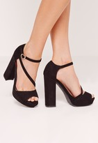 Missguided Asymmetric Strap Platform Heeled Sandals Black