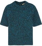Bottega Veneta Metallic Ribbed Wool-blend Sweater - Blue