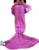 Hughapy Christmas Soft Mermaid Tail Blanket Handmade Living Room Sleeping Blanket For Kids Adult (Pink,Adult)