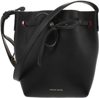 Mansur Gavriel Black Leather Mini Drawstring Bag