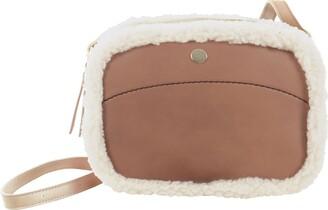 JAM Womens Lexi Shoulder Bag PU Faux Leather Ladies Crossbody Fashion Tote Handbag Zip Closure Faux Sheepskin Trim - Chestnut Brown