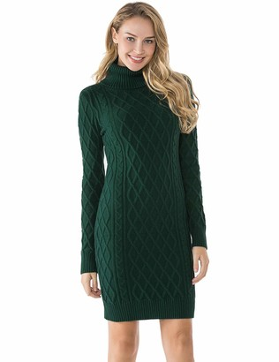 Private Label Lynz Pure Women's Turtleneck Sweater Long Sleeves Sweater Dress Slim Fit Jumper Dress Green M