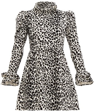 Batsheva Leopard-print Ruffled Cotton-velvet Dress - Womens - Leopard