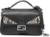Fendi Double Baguette Micro Elaphe-trimmed Leather Shoulder Bag - Black