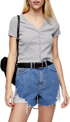 Topshop Button-Up Ribbed Tee