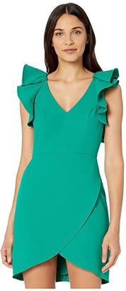 BCBGMAXAZRIA Ruffle Shoulder Cocktail Dress (Ultra Green) Women's Dress