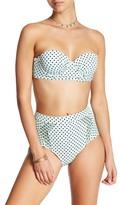 Betsey Johnson Polka Dot Underwire Bandeau Bikini Top
