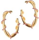 Oscar de la Renta Pave Vine Hoop Earrings