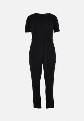 Missguided Plus Size Black Rib Flare Leg Jumpsuit