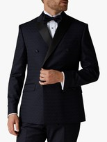 Jaeger Checkerboard Double Breasted Slim Fit Suit Jacket, Navy