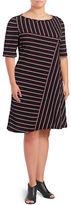 Gabby Skye Striped Knit A-Line Dress