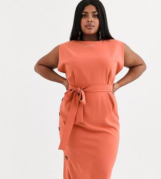 Asos DESIGN Curve cap sleeve split sleeve midi dress with button skirt