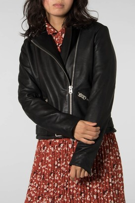 Selected BLACK LINA LEATHER CAMP JACKET - 40