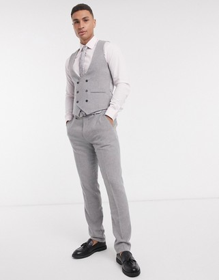 Gianni Feraud skinny fit gray flannel double breasted scoop vest