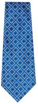 Chanel Vintage Blue Diamond Silk Jacquard Tie