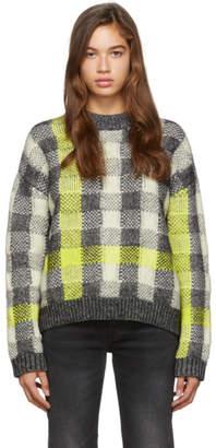 McQ Grey and Yellow Fluro Crewneck Sweater